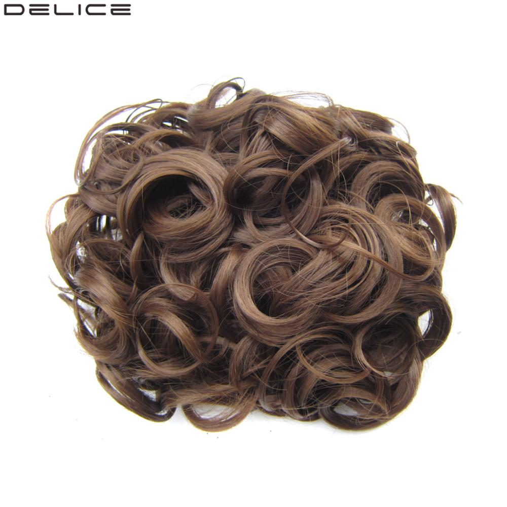 DELICE Women's Hair Bun Elastic Net With Combs Curly Chignon Updo Cover Heat Resistance Synthetic Hairpiece