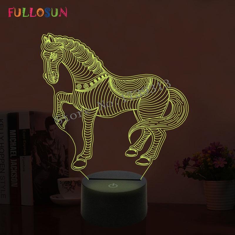 Bella lampada a forma di cavallo Cool 3D Illusion Lampada da notte a LED con luci notturne di atmosfera come regali di compleanno