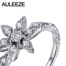 Unique Floral Real Diamond Ring Natural Diamond Solid 18K White Gold Engagement Wedding Rings For Women Diamond Jewelry