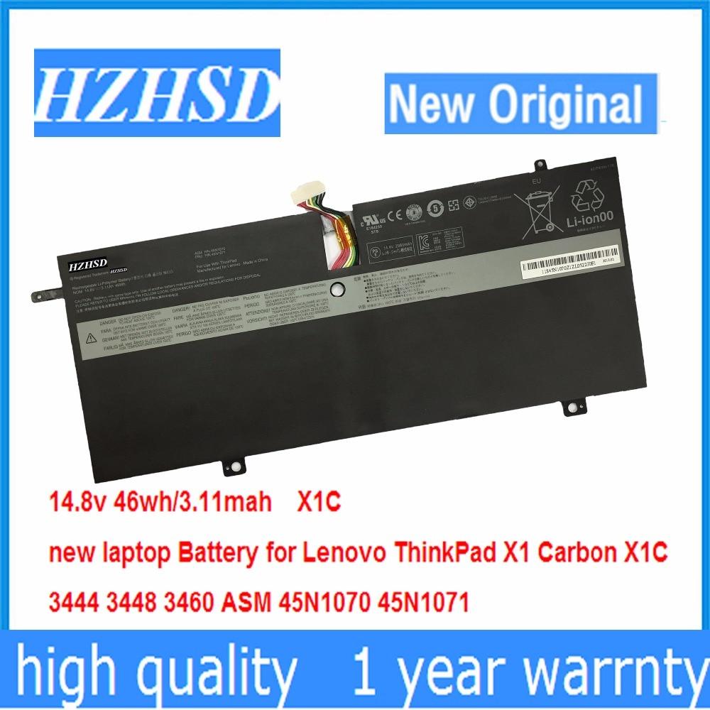 14.8V 46Wh New Original Laptop Battery for Lenovo ThinkPad X1C Carbon 45N1070 45N1071 3444 3448 3460 new original 14 8v 46wh laptop battery for lenovo thinkpad x1 carbon gen 1 3444 3448 3460 45n1070 45n1071