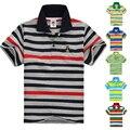 Высочайшее качество детская одежда мальчики девочки одежда дети футболка лето полосатый хлопок с коротким рукавом мода рубашка