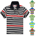 Calidad superior de los niños ropa niños niñas ropa de los cabritos camiseta de verano de rayas de algodón de manga corta camisa de la manera