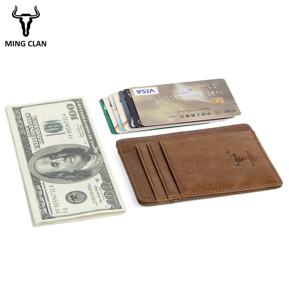 MingClan äkta läder unisex visitkort hållare plånbok bank - Plånböcker - Foto 3