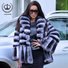 738721d5671 New Women Real Chinchilla Rex Rabbit Fur Coat From Natural With Big Turn- down Collar