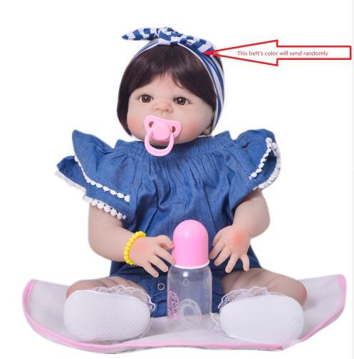 23 pouces corps complet Silicone Reborn bébé poupées pour enfants Playmates bebe réaliste reborn fille poupées cadeau 57 cm bonecas reborn - 6