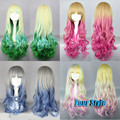 75cm Long Wavy Curl Cosplay Wigs Colorful Ombre Wigs Rainbow Zipper Anime Harajuku Lolita Costume Party Hair Wigs Peruca Cosplay