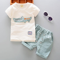 Summer Baby Boys Clothing Set Shark Button Baby Kids Clothes Casual Children Suit Infant T