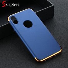 Full Protect Case For iPhone 6 6S 7 8 5 5S SE Cases 3in1 Plated Plastic Bumper For iPhone X XS Cover For Iphone 6 Plus Housing стоимость