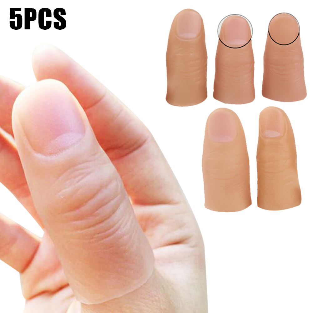 5pcs Finger Magic Trick Fake Soft Thumb Tip Close Up Stage Show Prop Prank Toy M09