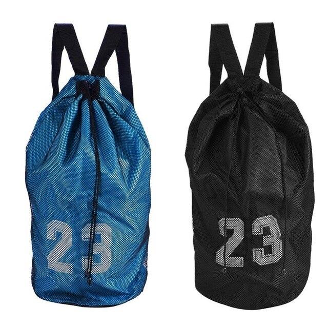 e6bc6e64b6f Outdoor Sport Football Bag Large Capacity Mesh Drawstring Bag Basketball  Soccer Sport Training Backpack Shoulder Ball