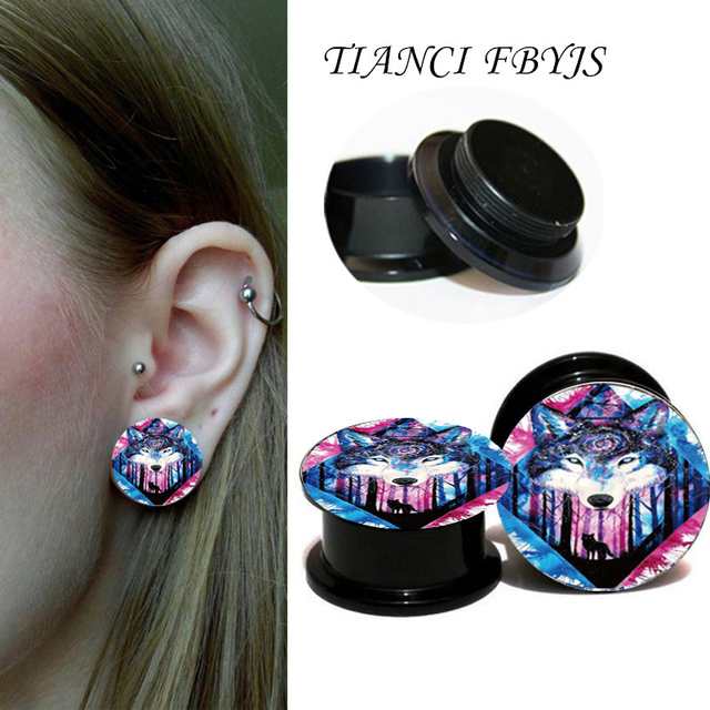 Tianci Fbyjs Wolf Ear Tunnel Acrylic Plugs Gauges Reamer Flesh Piercing Expander Stretching 1 Pair
