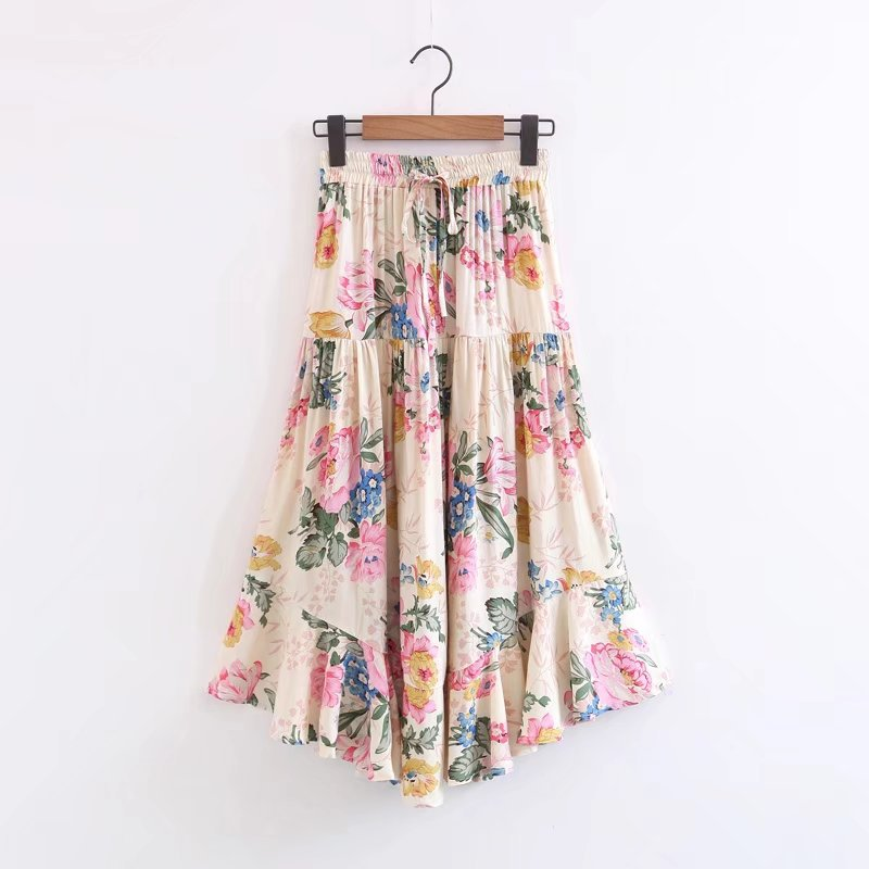 3d6ccf4c7695d US $21.95 37% OFF|Floral Print Boho Midi Skirt Summer Irregular Ruffle  Pleated Long Drawstring Elasticated Waist Retro Hippie Chic Beach Skirts-in  ...