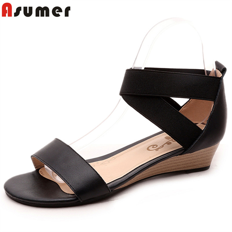 ASUMER Fashion Shoes Wedges Women Sandals Low-Heel Black Genuine-Leather Ladies New 34-42