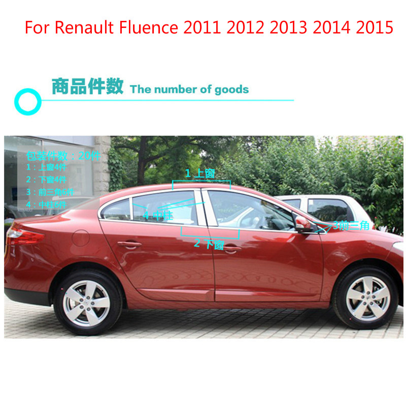 High quality stainless steel Car window trim strip (20pcs) For Renault Fluence 2011 2012 2013 2014 2015 4dr Car-styling stainless steel full window with center pillar decoration trim car accessories for hyundai ix35 2013 2014 2015 24