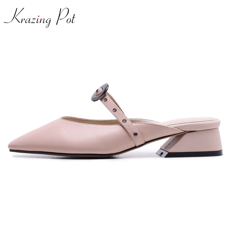 Krazing pot full grain leather gladiator slip on metal round buckle rivets shallow pointed toe mules fashion woman sandals L9f7 krazing pot empty after shallow shoes woman lace work flats pointed toe slip on sheep suede causal summer outside slippers l16