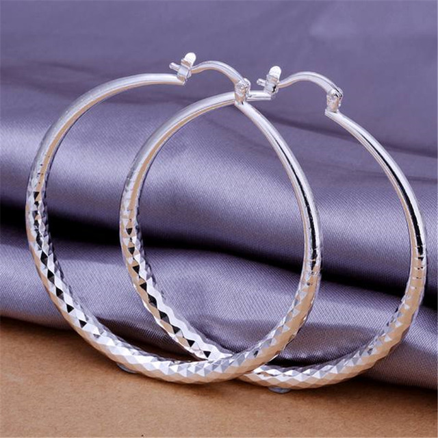 E291 wholesale circle women lady girl  silver plated  cute pretty earrings high quality fashion classic jewelry antiallergic