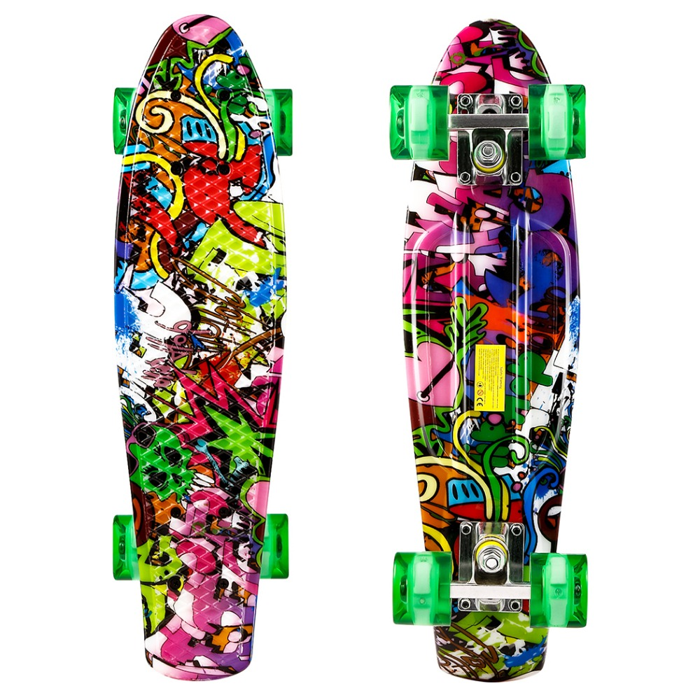22 inch Cruiser Style Skateboard Outdoors Fun Plastic Longboard Skateboard Deck Skate Board with LED Light Wheels Patins