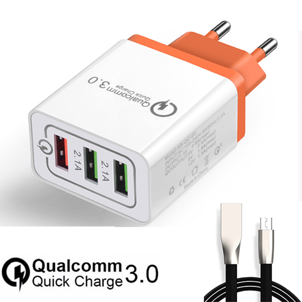Quick Charge 3.0 Mobile Phone Charger 9V1.8A/5V2.4A/12V1.5A 3 usb port for iPhone Adapter for Samsung Xiaomi USB Cable
