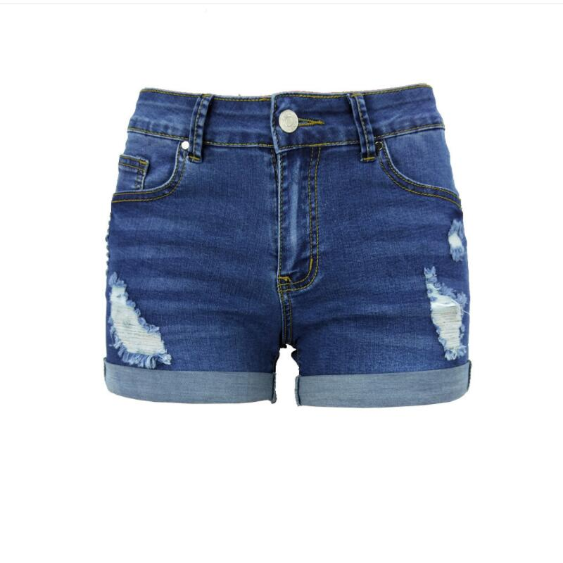 2018 summer new large size women's hole jeans fashion short jeans