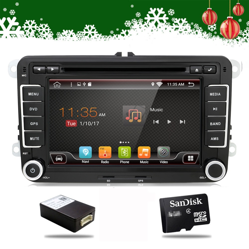 Android 7.1 Quad Core 2din Car DVD GPS navi for Volkswagen VW Skoda Octavia golf 5 6 touran passat B6 jetta polo tiguan player feeldo new 8 ultra slim android 6 0 quad core car media player with gps navi radio for vw golf polo jetta skoda octavia gift