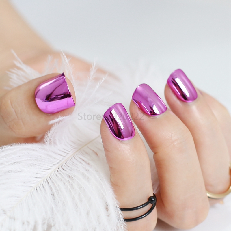 Sexy fashion fake nails nail metal plate short dimension Pure Rose ...