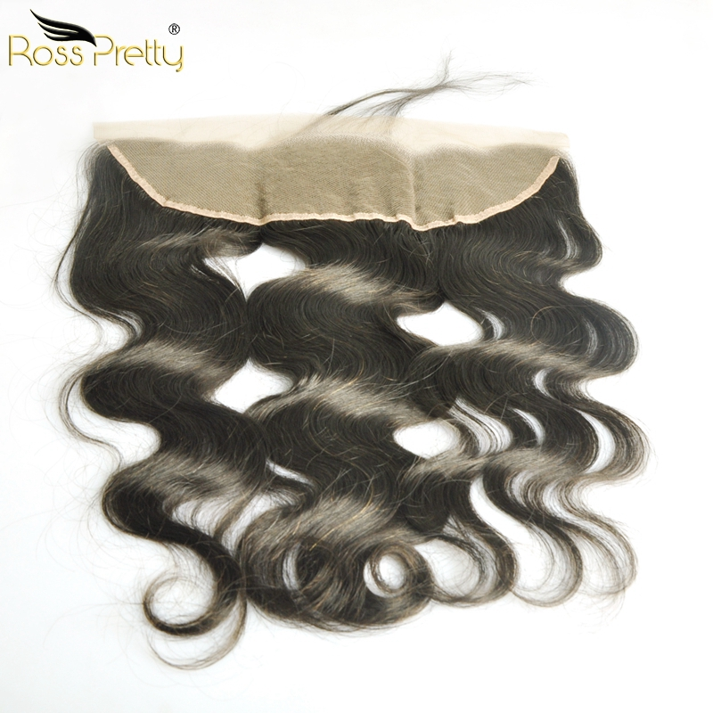 Ross Pretty Pre Plucked Brazilian Straight Human Hair Remy Hair Ear to Ear Lace Frontal Closure 13X4 Free Part With Baby Hair