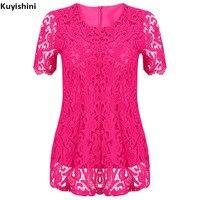 New Summer Plus Size XXL Women Retro Crochet Blouse Lace Sheer Shirts Tops Vestidos Blusas Femininas