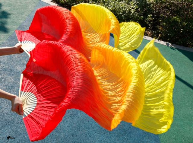 Succès haute vente femmes qualité soie danse du ventre Fan danse 100% réel soie voiles 1 paire 180*90 cm rouge + orange + jaune
