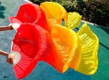 Trifft Hoch verkauf frauen Qualität Seide Bauchtanz Fan Dance 100% Echte Seide Schleier 1 paar 180*90 cm rot + orange + gelb