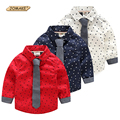 Estrelas de Impressão Full Camisas Meninos Marca de Moda Infantil Roupas de Bebê Roupa menino Novo Designer Camisas Dos Miúdos Para O Menino Da Criança Gravata camisa