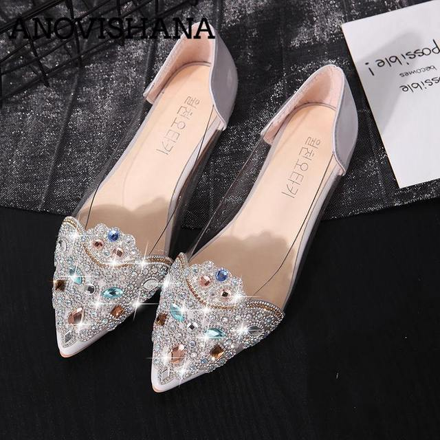ANOVISHANA women Ballet flats shoes women Rhinstone ballerina flats women  flats shoes luxury shoes Crystal wedding 815139e50e70