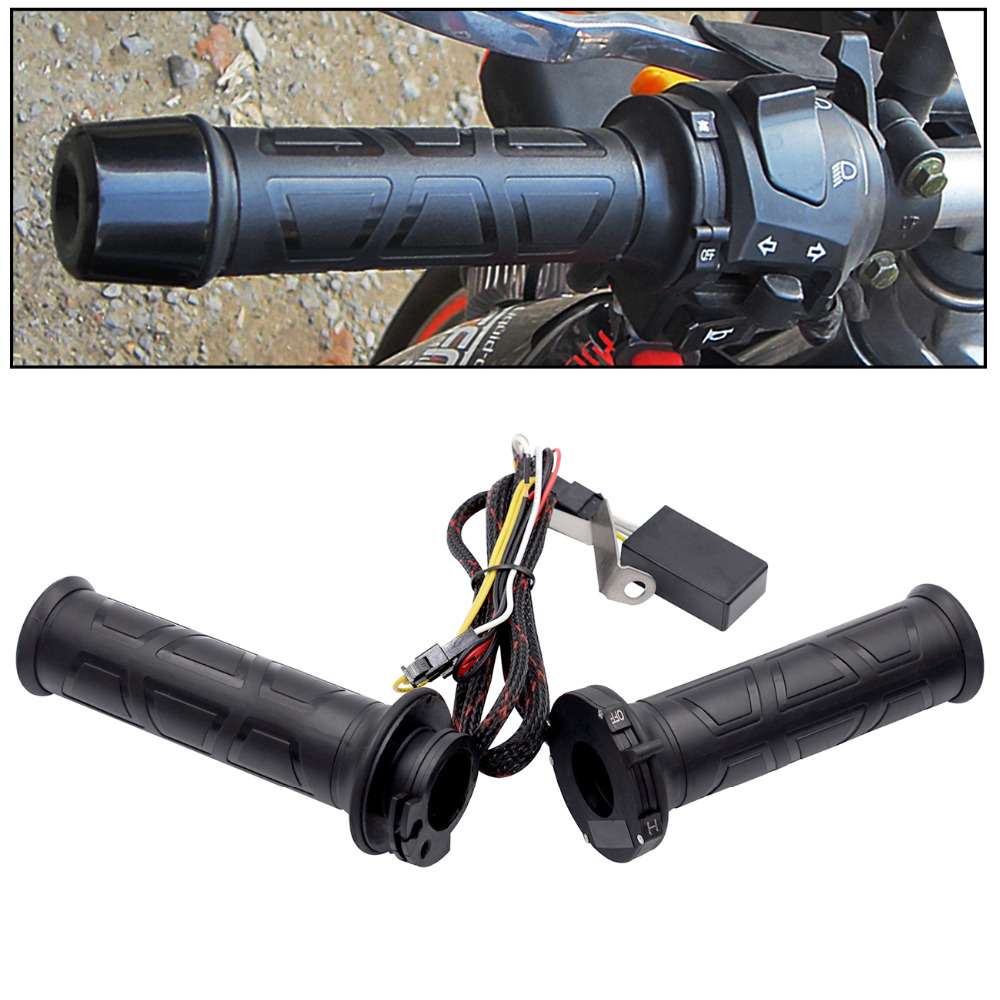 1 paar 12 V 12 W-24 W 22 MM Einstellbare temperatur Motorrad Lenker Universal Elektrische Beheizte Griff Motorrad heizung Griffe Set
