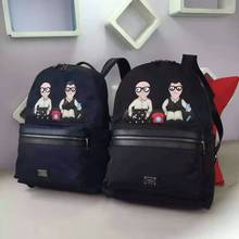 free shipping Classic cartoon embroidery backpack shoulder bag for men and women