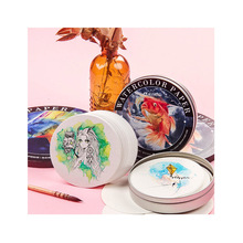 Round watercolor postcard watercolor cotton pulp 300g medium and fine lines divided beginners travel paper art supplies недорого