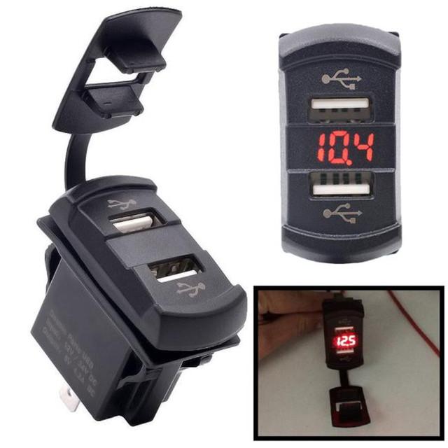 12 V Cargador de Doble Puerto USB Socket Voltaje Voltímetro Panel Rocker Switch Barco Coche JA12