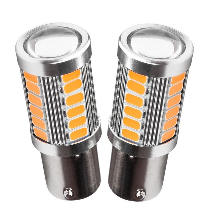 2 шт., Автомобильные светодиодные лампы 1156PY BAU15S PY21W 150 градусов 33 SMD 5630 1056, оранжевый, красный, для стояночных огней, стоп-сигналов поворота, све...