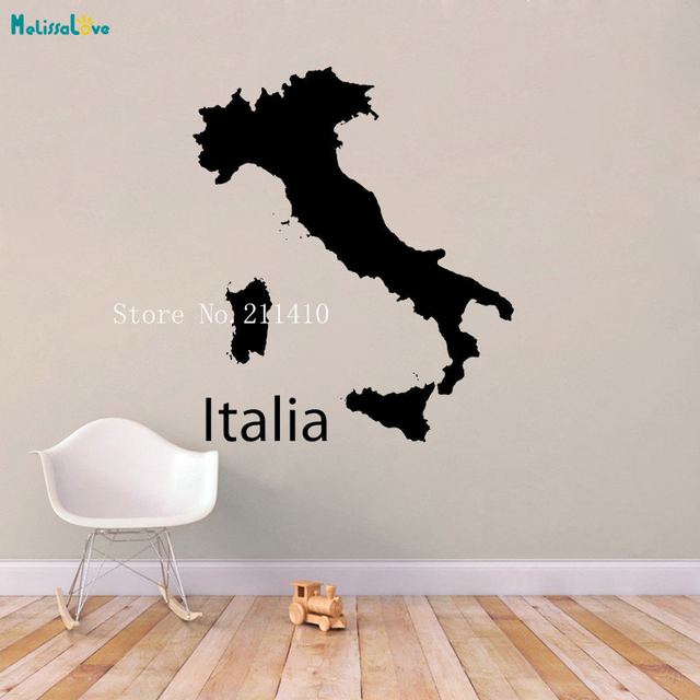 Italy Map  Wall Sticker Simple Design Pattern Decoration for Student Kids School Office Self-adhesive Nursery Art Decals YT713