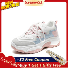 цены Krasovki Sneakers Women Autumn Fashion Breathable Women Shoes Dropshipping Thick Bottom Students Increase Causal Women Sneakers