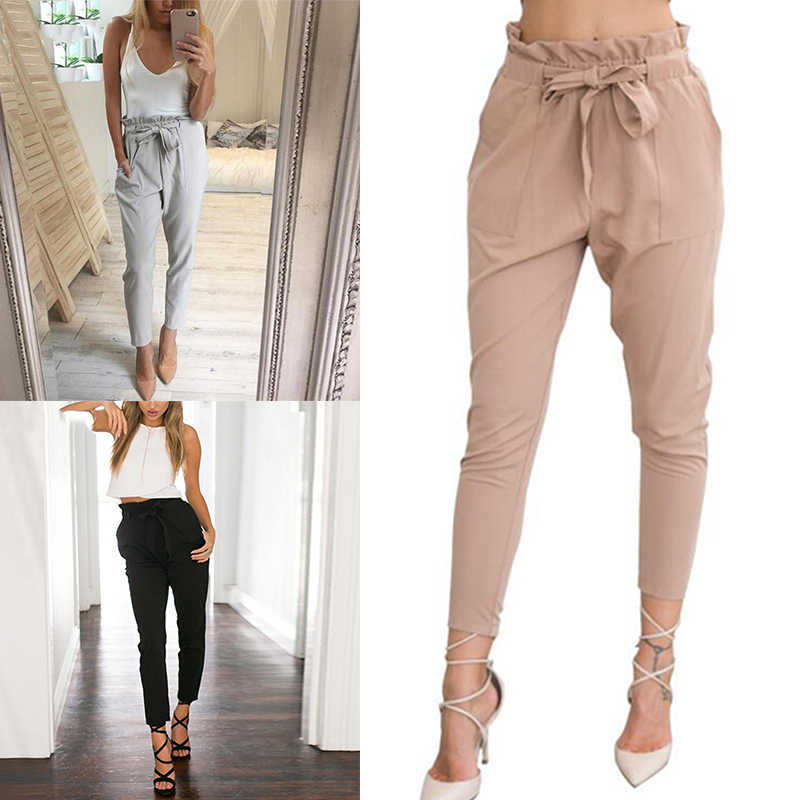 e6c031260 New 2019 Women Chiffon High Waist Harem Pants Bow Tie Drawstring Sweet  Elastic Waist Pockets Casual