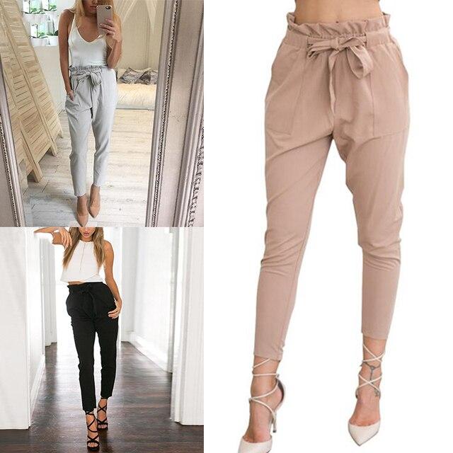 Nueva gasa de las mujeres de cintura alta pantalones Harem arco corbata de  cordón dulce cintura e27f211ead25