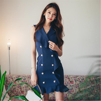 Sexy Women Dress 2017 New Dresses Sexy Elegant Shoulder Flouncing Package Hip Slim Solid Color Fashion