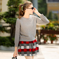 Women Winter Knitted Set Skirt and Knit Sweater Women Set Autumn 2015 plaid  Fashion Women New 2 piece Set Skirt and Top
