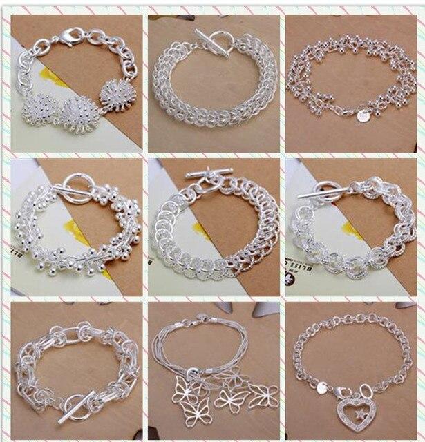 dac0307b79f6 Pulsera de plata chapada a la moda 2016 joyería de plata para mujer pulseras  cinco pulsera