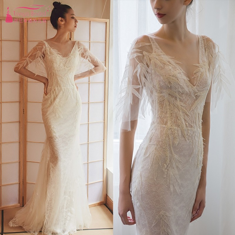 Mermaid Wedding Dresses 2019 V Neck Lace Embroidery Long Wedding Bridal Gown Illusion Flare Sleeve Bride