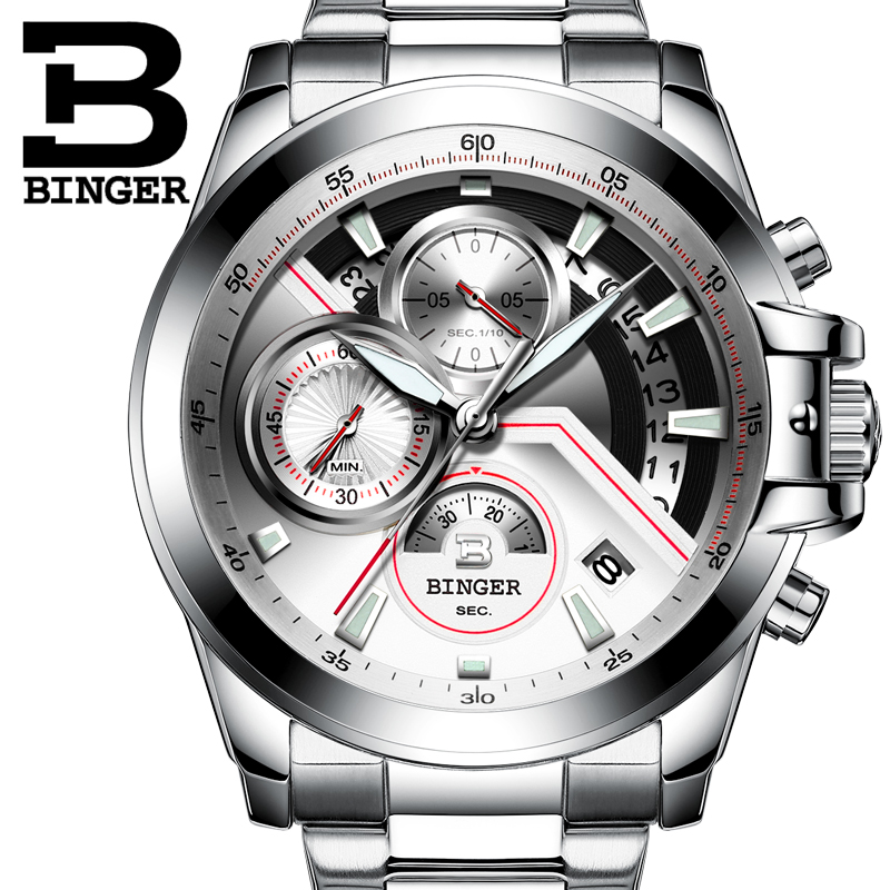 dc3e4c7ce67 Relogio masculino 2016 BINGER Relógio Cronógrafo Mens Relógios Top Marca de  Luxo Esportes Relógios Homens Relógio de Quartzo Relógio de Pulso Masculino  em ...