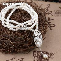 GQTORCH Natural Freshwater Pearl Necklace Beads Chain For Women With Real 925 Sterling Silver Pendant Flower Carved Fine Jewelry