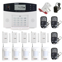 Metal Remote Control Voice Prompt Wireless Door Sensor Home Security GSM Alarm Systems LCD Display Wired