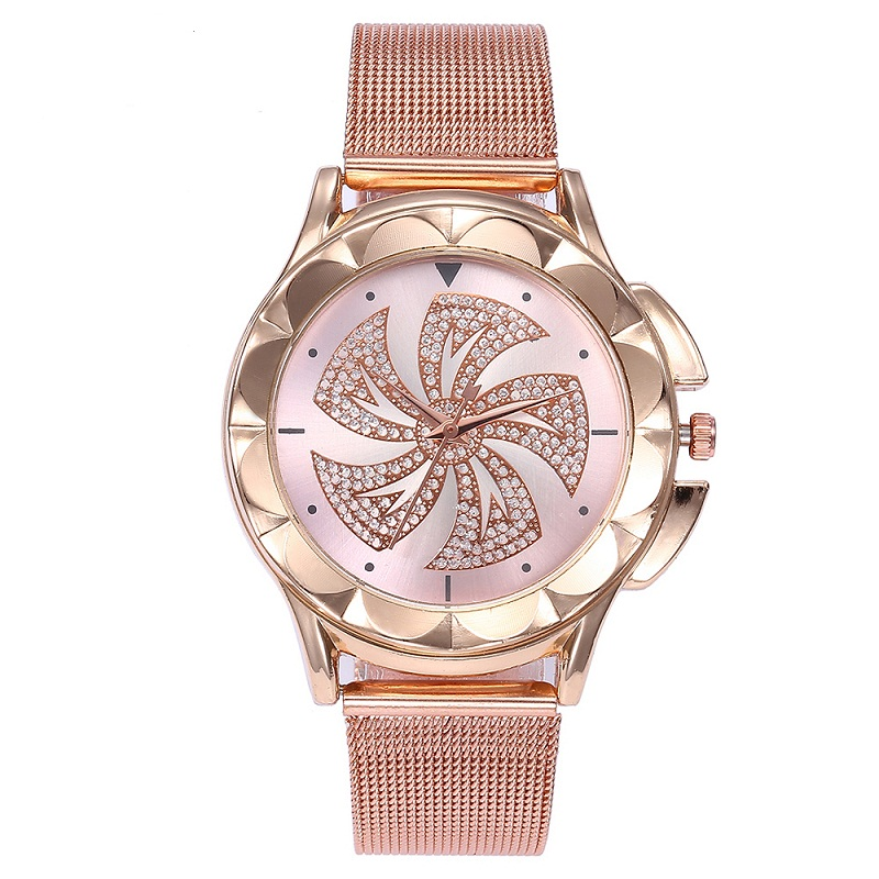 Fashion Women Rose Gold Colorful Dial Windmills Wrist Watch Luxury Casual Quartz Watch Relogio Feminino Drop Shipping clock 2019Fashion Women Rose Gold Colorful Dial Windmills Wrist Watch Luxury Casual Quartz Watch Relogio Feminino Drop Shipping clock 2019