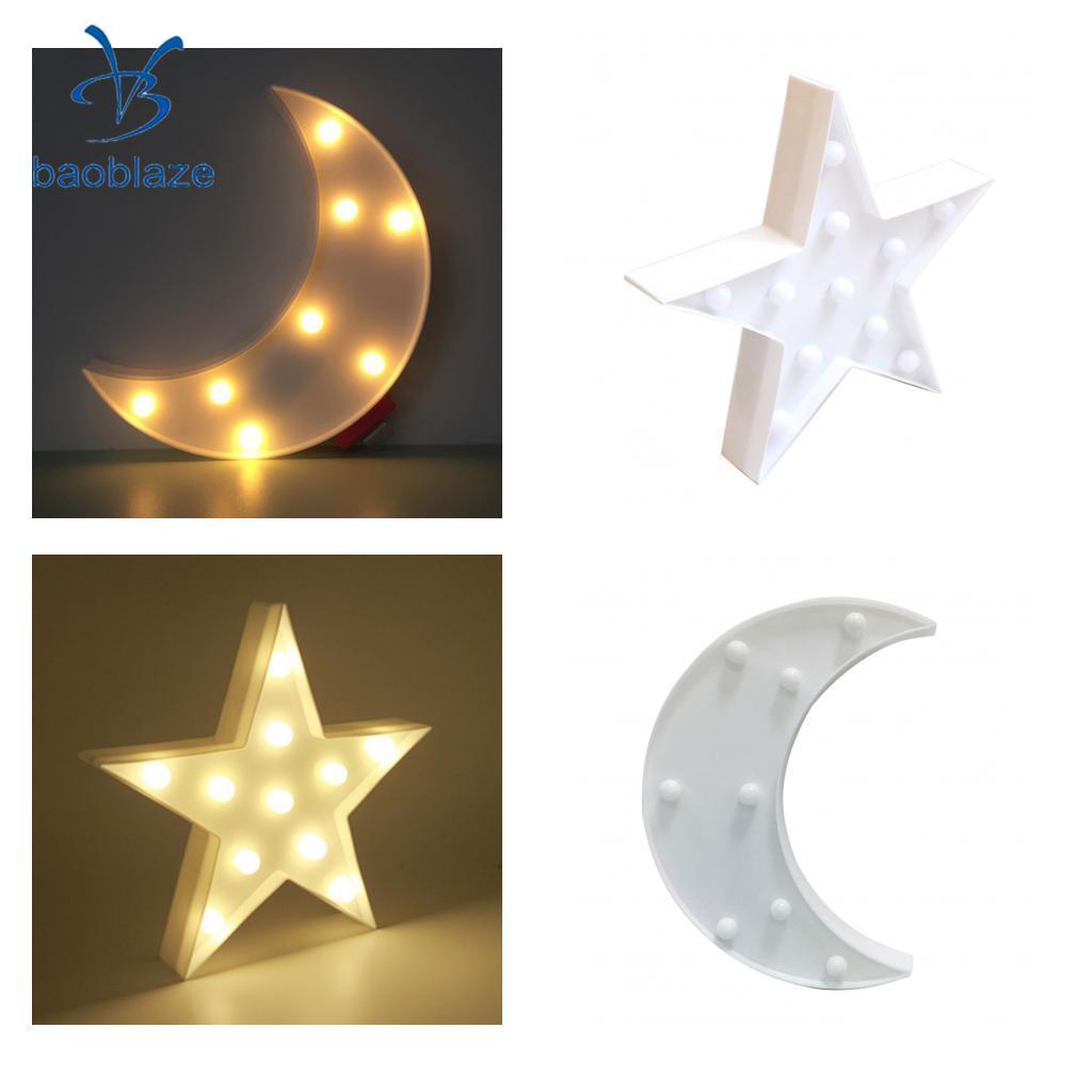 2Pcs Cute Star Moon LED Night Light Wall Lamp Baby Kids Bedroom Home Decor