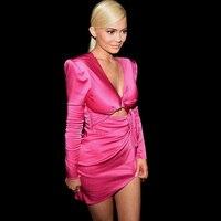 Fashion Hot Pink Long Sleeve Satin Kylie Style Show Birthday Women Dress Chic Wholesale Vestidos Verano 2018 Autumn Dress Festa